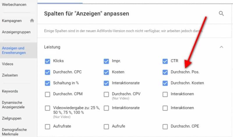 AdWords Optimierung Anzeigenposition