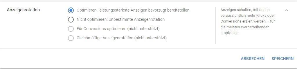AdWords Optimierung Anzeigenrotation