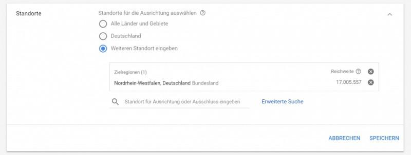 AdWords Optimierung Standorte