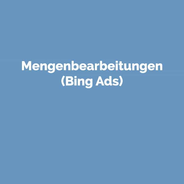 Mengenbearbeitungen (Bing Ads) | Glossar | perfecttraffic.de
