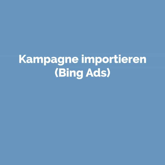 Kampagne importieren (Bing Ads) | Glossar | perfecttraffic.de