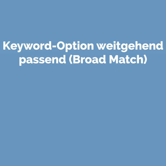 Keyword-Option weitgehend passend | Blog | perfecttraffic.de