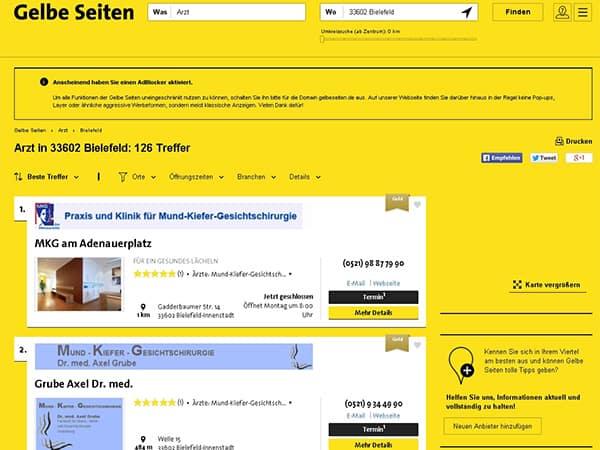 Webkatalog Gelbe Seiten