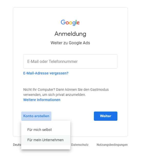 Google Ads Konto Anmeldung