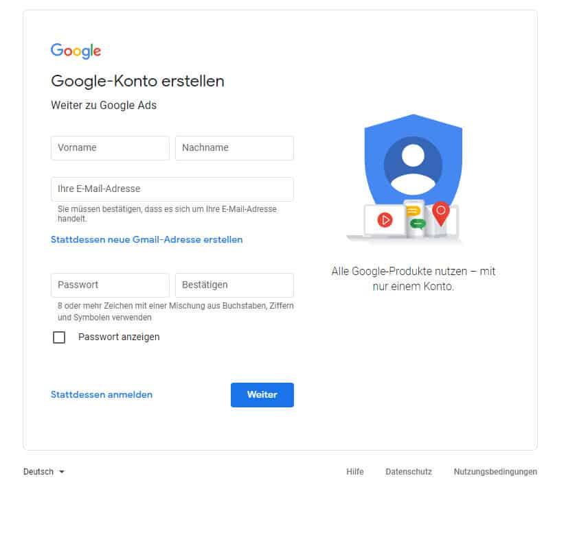 Google Ads Konto Daten
