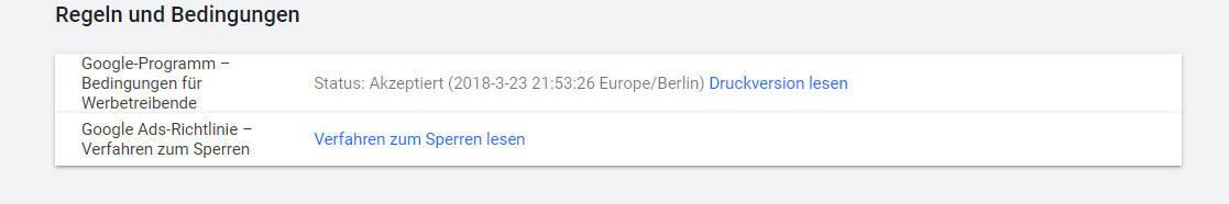 Google Ads Konto Regeln + Bedingungen