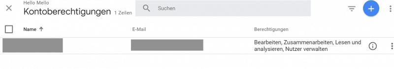 Google Analytics Nutzerverwaltung
