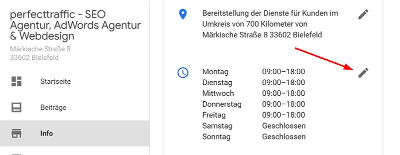 Google My Business Öffnungszeiten