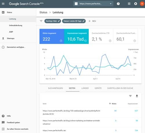 SEO Tools Search Console Beta Position