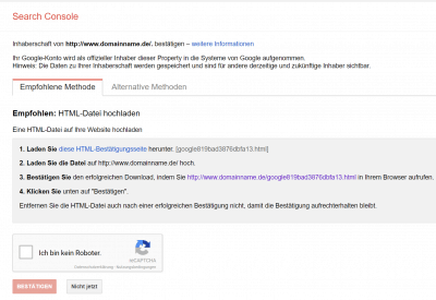 Google Search Console Anmeldung
