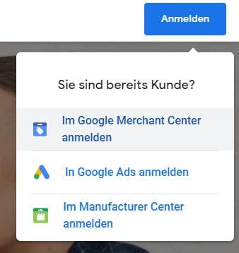 Google Merchant Center Anmeldung