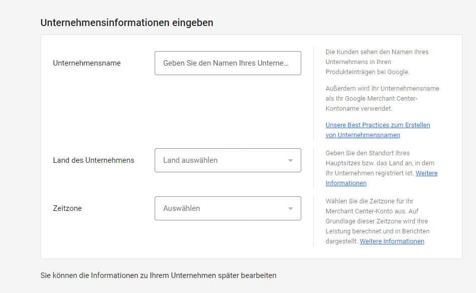 Google Merchant Center Unternehmensinformationen