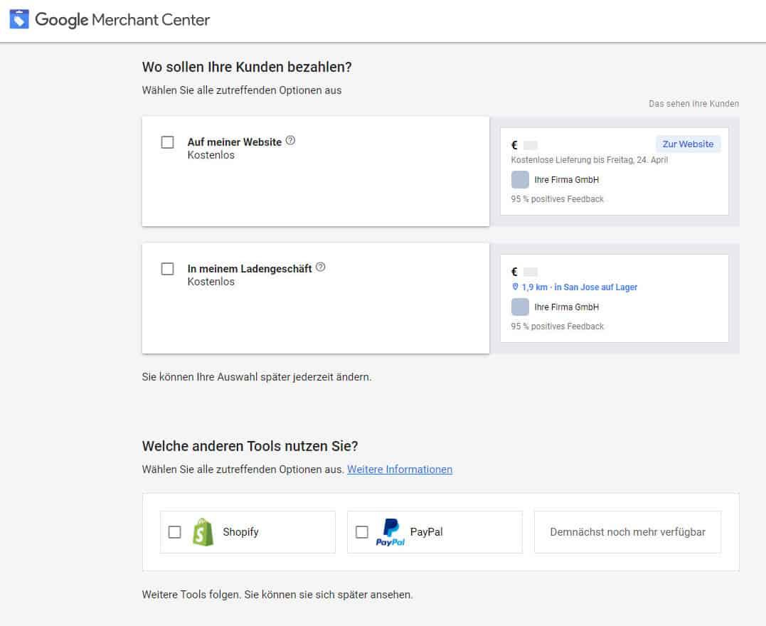 Google Merchant Center Bezahlsystem