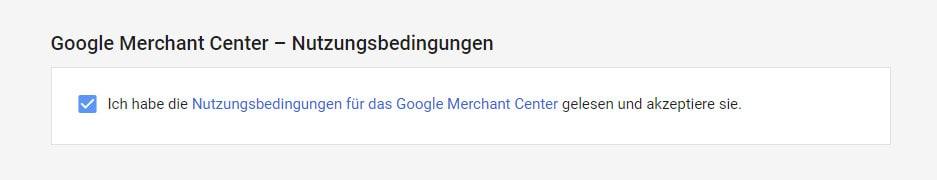 Google Merchant Center Nutzungsbedingungen