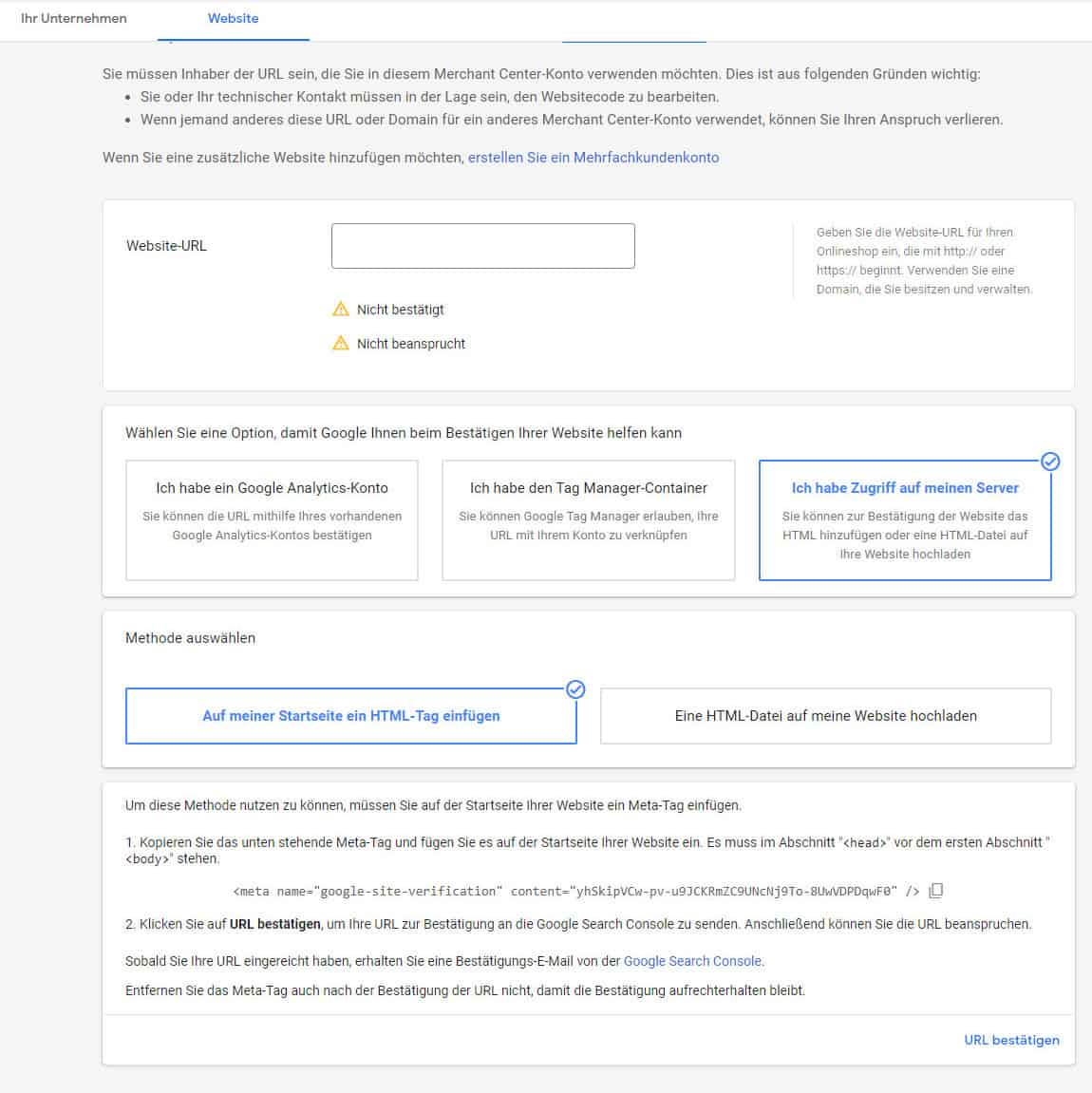 Google Merchant Center verifizieren