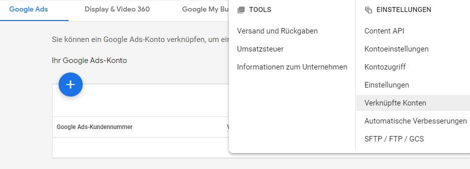 Merchant Center mit Google Ads verknüpfen
