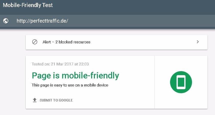 Test auf Optimierung für Mobilgeräte