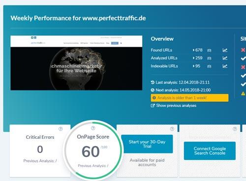 SEO Tools Ryte Onpage Score