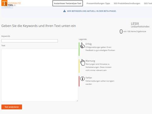 SEO Tools Textanalyse Tool